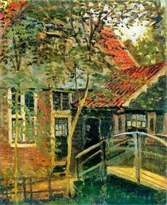 Zaandam, Little Bridge - Claude Monet 1871 n May 1871, he left London to live in Zaandam, in the Netherlands,[17] where he made twenty-five paintings (and the police suspected him of revolutionary activities).[19] He also paid a first visit to nearby Amsterdam. In October or November 1871, he returned to France (Wikipedia)