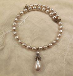 Vintage Miriam Haskell Baroque Faux Pearl Memory Wire Drop Necklace