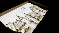 Европейский городок, песочная анимация, рисование песком, архитектура