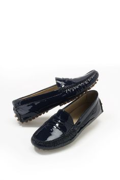 Navy Blue Patent Leather Driver Shoes Katanya | Play the World