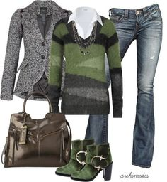 Green And Grey Outfits | green and grey casual fall