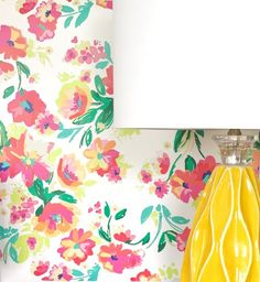La Jolla White removable wallpaper Gail Wright at Home A tropical floral print perfect for bringing a burst of summer into your home decor