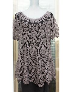 Frost Gray Crochet Cotton Tunic / Top / Cover Up / by DearAlina