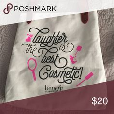 Benefit Tote Bag Laughter is the best cosmetic Benefit tote bag Bags Totes
