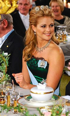 Princess Madeleine wears the relatively dainty four-button tiara to the Nobel Prize gala in 2009. Photo: Getty Images