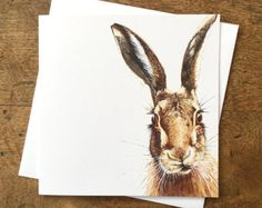 Hare greetings card - hare art - hare painting - hare picture