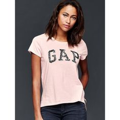 Gap Women Sequin Logo Tee ($21) ❤ liked on Polyvore featuring tops, t-shirts, misty rose, tall, short sleeve tee, sequin top, crew neck tee, short sleeve t shirts and logo t shirts