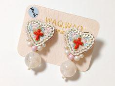 12 Cross heartイヤリング by WAQ,WAQ アクセサリー イヤリング   ハンドメイドマーケット minne(ミンネ)