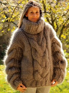 Big Sweater, Sweater Outfits, Gros Pull Mohair, Turtleneck, Knits, Pullover, Knitting, Unique, Sweaters