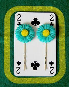 Set of 2 Turquoise Sunflower Bobby Pins Bobby Pin Hairstyles, Hair Slide, Resin Flowers, Super Glue, Bobby Pins, Hair Accessories, Turquoise, Floral, Pretty