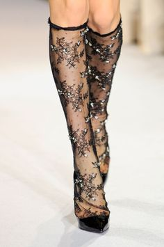 Collette Dinnigan F/W 2012 - beaded sheer black lace knee highs socks stockings Sock Shoes, Shoe Boots, Lace Socks, Lace Tights, Socks And Heels, Sexy Socks, Stocking Tights, Fashion Socks, Mode Inspiration