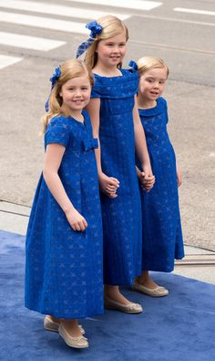 Catharina-Amalia, Crown Princess of Orange, and Princesses Ariane and Alexia on 30 April 2013, the day of the new King's investiture.