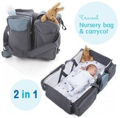 This is a genius baby product – the ultimate travel gadget for parents A travel nursery bag that quickly and easily transforms into a comfy carry cot or a nappy changing station!