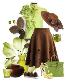 """""""Chocolate Mint-Chartreuse"""" by judymjohnson ❤ liked on Polyvore featuring Boudicca, Cultural Intrigue, Chicwish, Middle Kingdom, Hermès, INC International Concepts, Vintage, women's clothing, women and female"""