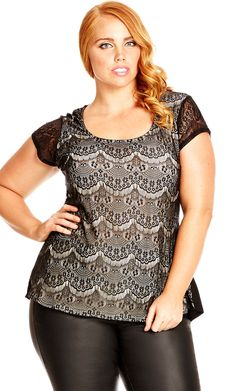 City Chic Lace Overlay Top - Women's Plus Size Fashion City Chic - City Chic Your Leading Plus Size Fashion Destination #citychic #citychiconline #newarrivals #plussize #plusfashion