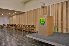 Rakkestad Kulturhus - Woodify AS Fire, Wood, Projects, Log Projects, Woodwind Instrument, Wood Planks, Trees, Home Decor Trees, Tile Projects