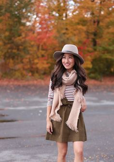 fall accessories // gray wool fedora hat + camel scarf