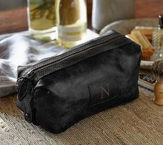 Saddle Leather Toiletry Case - Charcoal #potterybarn