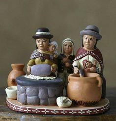 Ceramic statuette, 'Outdoor Kitchen' by NOVICA