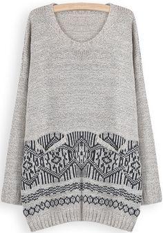 Khaki Long Sleeve Geometric Pattern Loose Sweater US$34.43
