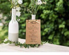 Maxi Menu for wedding, baptism, communion, birthday, natural Kraft card and raffia