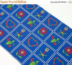 SALE Vintage Scandinavian Christmas Table Runner Hand Embroidered Swedish Xmas Symbols Table Topper Blue Green & Red Embroidery Folk Art Tex