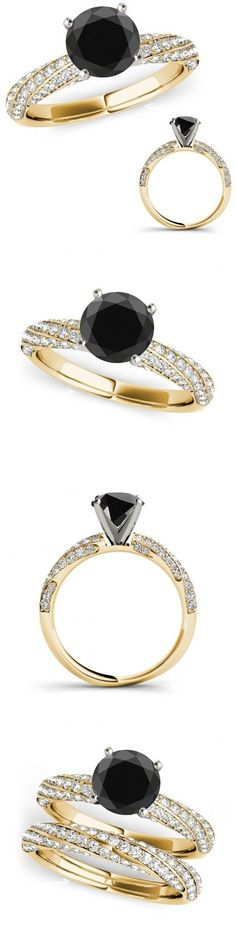 Other Engagement Rings 164308: 1.25 Ct Black Diamond Wedding Fancy Solitaire Women Ring Etoil Band Yellow Gold -> BUY IT NOW ONLY: $752.13 on eBay!