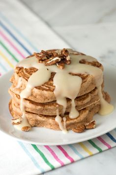 Cinnamon Pancakes with Cinnamon Roll Glaze-for a special occasion.