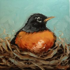 "Red breasted Robin painting, paintings of birds, 6x6"" original oil painting, bird art"