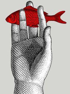 Gravure : main et poisson, Piero Fornasetti Fashion Illustrations, Illustrations Posters, Piero Fornasetti, Kunst Poster, Art Graphique, Fish Art, Illustrators, Graphic Art, Graphic Design