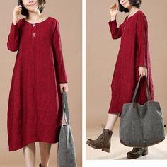 Autumn Big Large Long Sleeve Casual Round Neck Dress