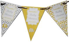 Personalised Baby Shower Flag Banner Bunting Flags inc Ribbon Chevron (Blue) Baby Shower Bunting, Baby Shower Decorations, Flag Banners, Bunting Banner, Blue Chevron, Blue Yellow, Shabby Chic Banners, Personalised Bunting, Baby Shower Yellow