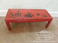 Vintage Chinese Oriental Painted Red Chinoiserie Coffee Table