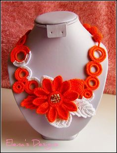 Items similar to SALE Crochet Set Necklace Earrings Orange Flowers Collection Bohemian on Etsy Crochet Buttons, Crochet Motifs, Crochet Art, Crochet Flowers, Crochet Jewelry Patterns, Crochet Accessories, Crochet Designs, Textile Jewelry, Fabric Jewelry