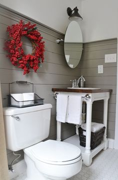 Love the horizontal plank walls and the mirror. Great idea for our tiny guest bathroom Small Bathroom, Bathroom Inspiration, Home Goods Decor, Bathroom Decor, Bathroom Redo, Vanity, Bathrooms Remodel, Bathroom Makeover, Downstairs Bathroom