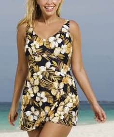 25483fa623 Look at this Beach Belle Brown Jamaican Sunset V-Neck Swimdress - Women    Plus
