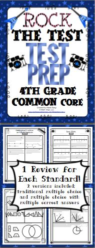 4th Grade Common Core Math Test Prep (Rock Theme): Help your students rock the test! This pack has a 1 page review for each standard and a 2 page review for each domain. It is aligned to the 4th grade Common Core Standards. There are multiple choice, short answer, and longer extended performance tasks. You can pick from traditional multiple choice or multiple selection (multiple choice questions with one or more correct answer choices). Wow! $
