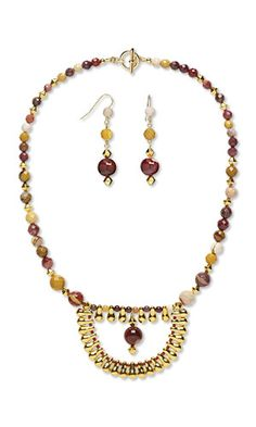 Jewelry Design - Single-Strand Necklace and Earring Set with Moukaite Jasper…