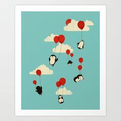 We Can Fly! Flying penguins illustration by Jay Fleck Framed Art Prints, Canvas Prints, Create Your Own Story, Kids Artwork, Nursery Artwork, Nursery Decor, Popular Art, Flyer, Illustrations