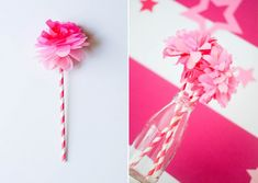 Super quick and easy DIY tissue paper flower with straw stem. Andersruff.com