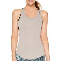 Reebok Workout Ready Tank Top ($17) ❤ liked on Polyvore featuring activewear, activewear tops, reebok activewear, reebok sportswear and reebok