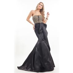 Rachel Allan 8107 Prom Dress 2016 Long Strapless Sleeveless ($798) ❤ liked on Polyvore featuring dresses, gowns, black, formal dresses, long black dress, black formal dresses, black mermaid dress, formal evening dresses and long prom dresses