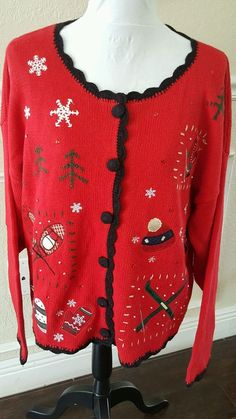 799222c88d2 Basic Editions Holiday Ladies Ugly Christmas Sweater Red Size XL Snow  Mitten Ski #BasicEditions #