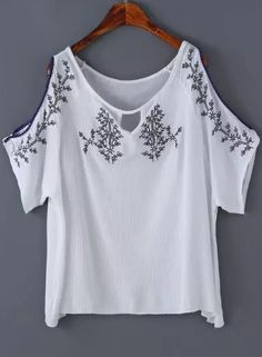 Shop White Off the Shoulder Embroidered Blouse online. SheIn offers White Off the Shoulder Embroidered Blouse & more to fit your fashionable needs. Embroidery Dress, Embroidered Blouse, Loose Fitting Tops, Loose Tops, White Off Shoulder, Lace Crop Tops, Shirt Shop, Dress Patterns, Shirt Blouses