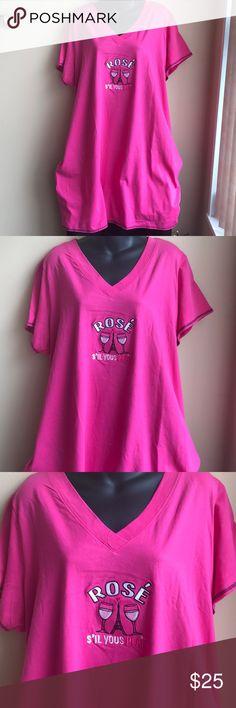 """Rosé"" inspired plus Sz nightshirt Brand new nightshirt "" Rosé sil vous Plait"" . 100% cotton Intimates & Sleepwear Pajamas"