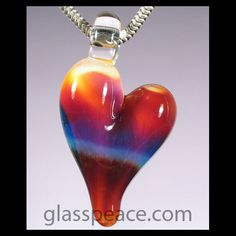 SALE Glass Heart Pendant - Hand Blown Glass Jewelry by Glass Peace $10.00
