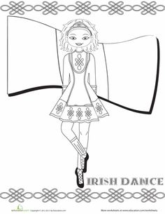 Irish Dance Coloring Page - Eleanor just learned of irish dancing, going to print today even though it's the day after st patrick's day and keep for next year