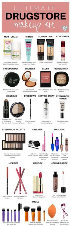 Ultimate Drugstore Makeup Kit This is your ultimate guide to drugstore makeup! I've rounded up the best of the best for each category to complete your makeup kit! The post Ultimate Drugstore Makeup Kit appeared first on School Ideas. Makeup 101, Makeup Tools, Makeup Inspo, Makeup Hacks, Makeup Brushes, Makeup Ideas, Makeup Guide, Makeup Geek, Makeup Tutorials