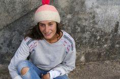 neon pink crochet beanie