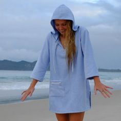 8452cf5b9d Hooded towelling dress in hot pink - womens surf swim changing robe poncho